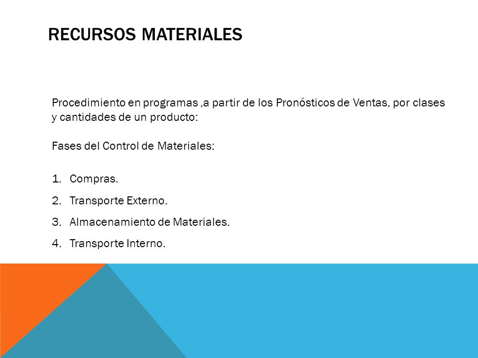 RECURSOS MATERIALES Procedimiento en programas ,a partir de los Pronósticos de Ventas, por clases y cantidades de un producto: