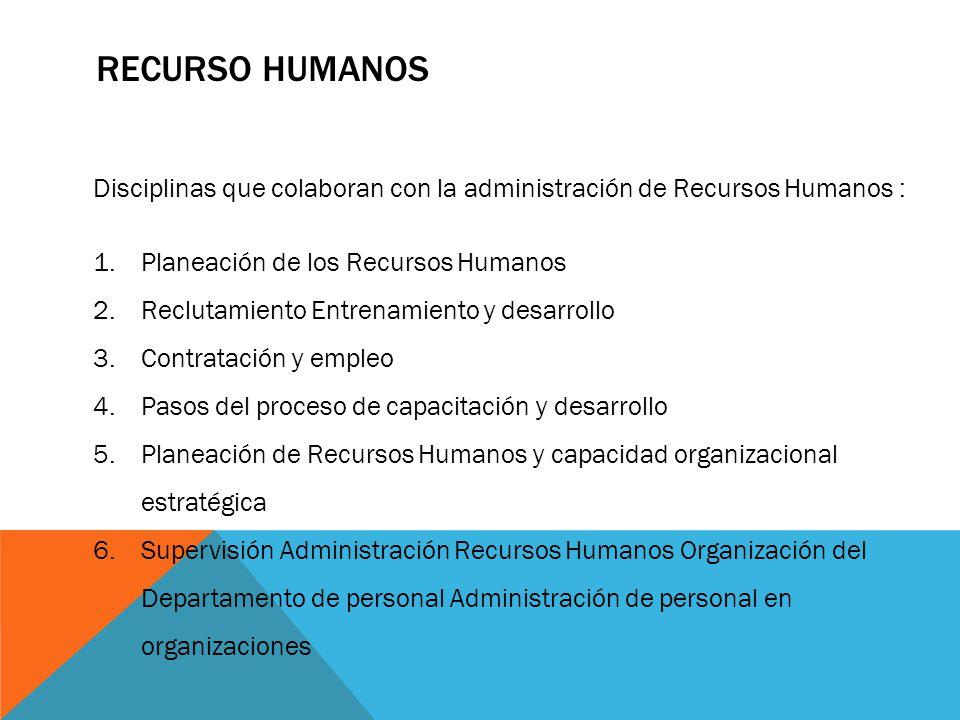 Recurso Humanos Disciplinas que colaboran con la administración de Recursos Humanos : Planeación de los Recursos Humanos.