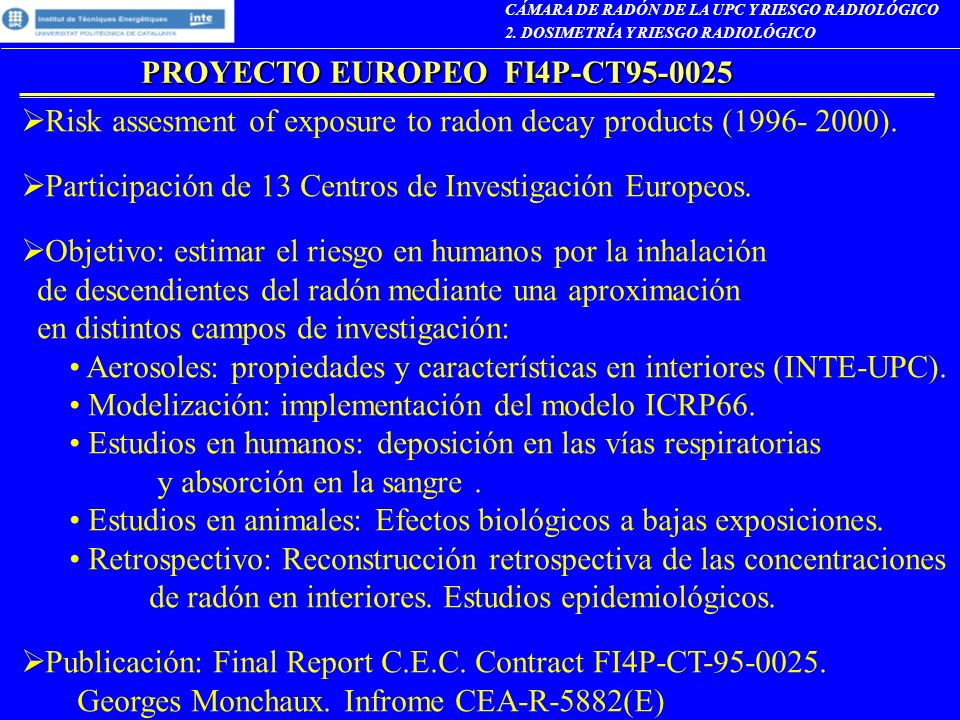 PROYECTO EUROPEO FI4P-CT95-0025