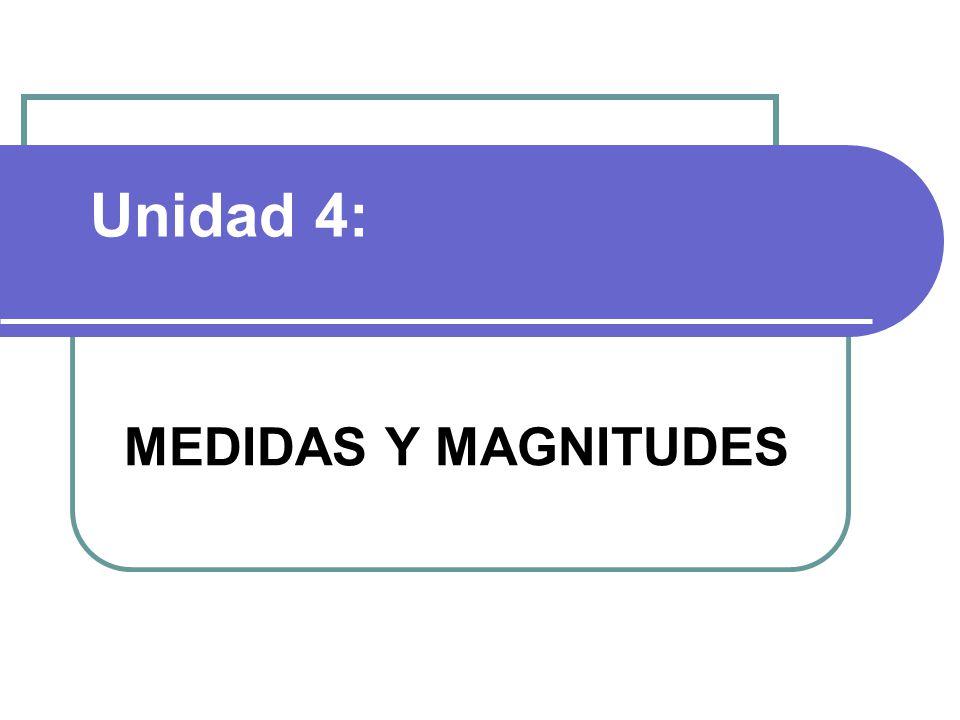 Unidad 4: MEDIDAS Y MAGNITUDES