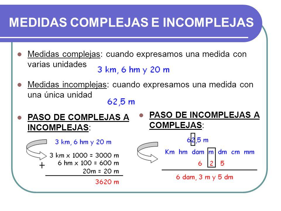 MEDIDAS COMPLEJAS E INCOMPLEJAS