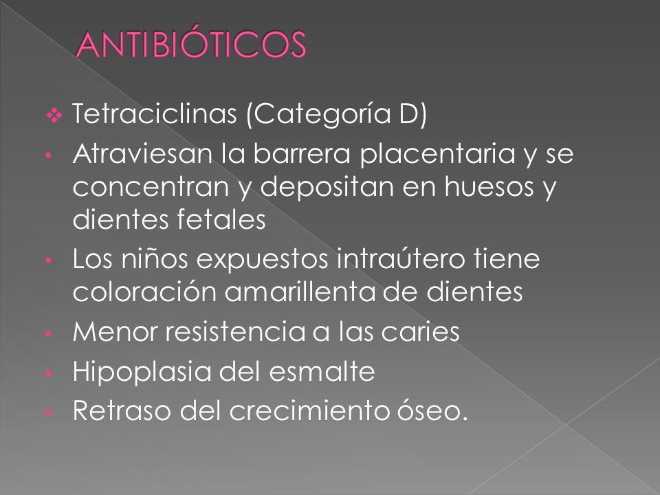 ANTIBIÓTICOS Tetraciclinas (Categoría D)