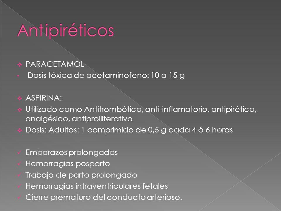 Ant ipiréticos PARACETAMOL Dosis tóxica de acetaminofeno: 10 a 15 g