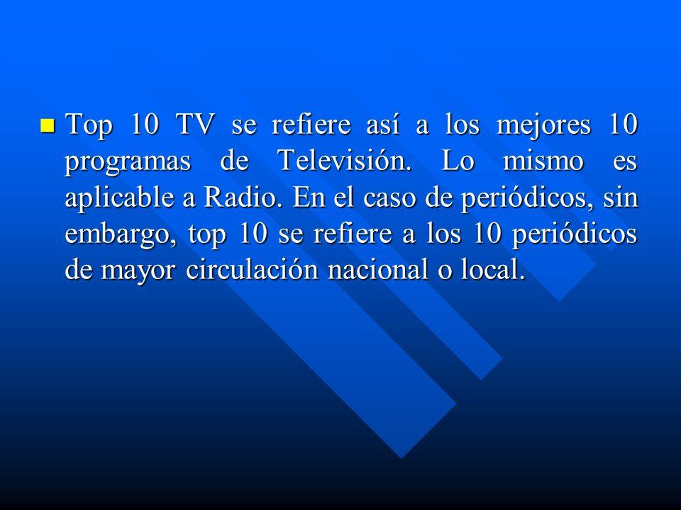 Top 10 TV se refiere así a los mejores 10 programas de Televisión