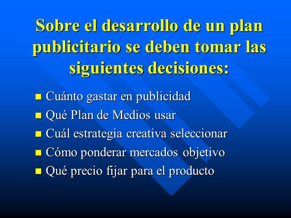 Sobre el desarrollo de un plan publicitario se deben tomar las siguientes decisiones: