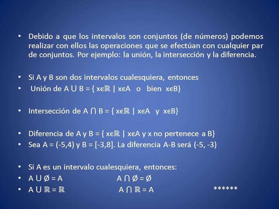 Debido a que los intervalos son conjuntos (de números) podemos realizar con ellos las operaciones que se efectúan con cualquier par de conjuntos. Por ejemplo: la unión, la intersección y la diferencia.