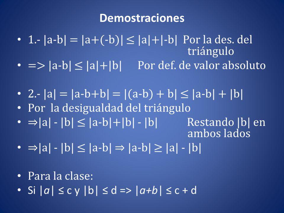 Demostraciones 1.- |a-b| = |a+(-b)| ≤ |a|+|-b| Por la des. del triángulo. => |a-b| ≤ |a|+|b| Por def. de valor absoluto.