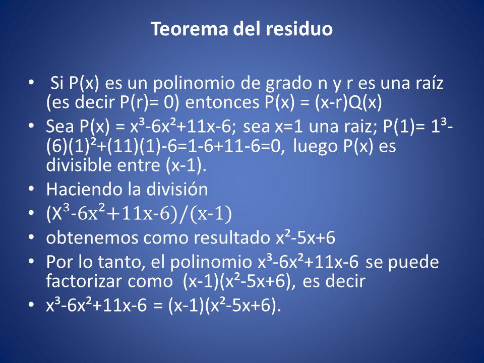 Teorema del residuo Si P(x) es un polinomio de grado n y r es una raíz (es decir P(r)= 0) entonces P(x) = (x-r)Q(x)