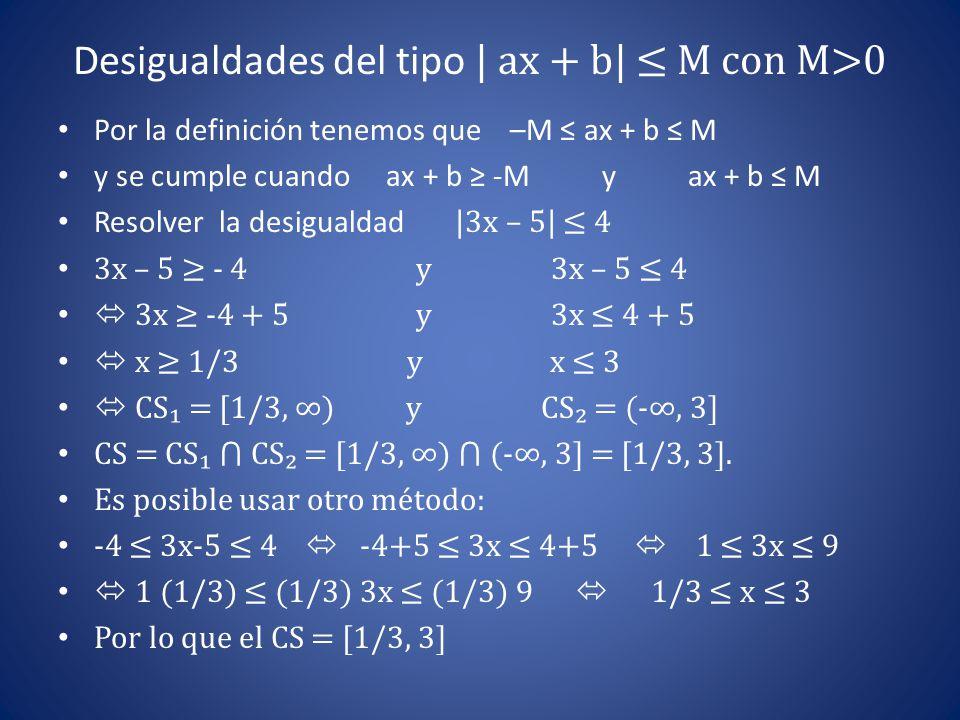 Desigualdades del tipo | ax + b| ≤ M con M>0