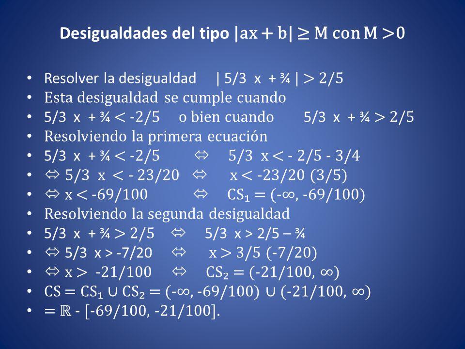 Desigualdades del tipo |ax + b| ≥ M con M >0