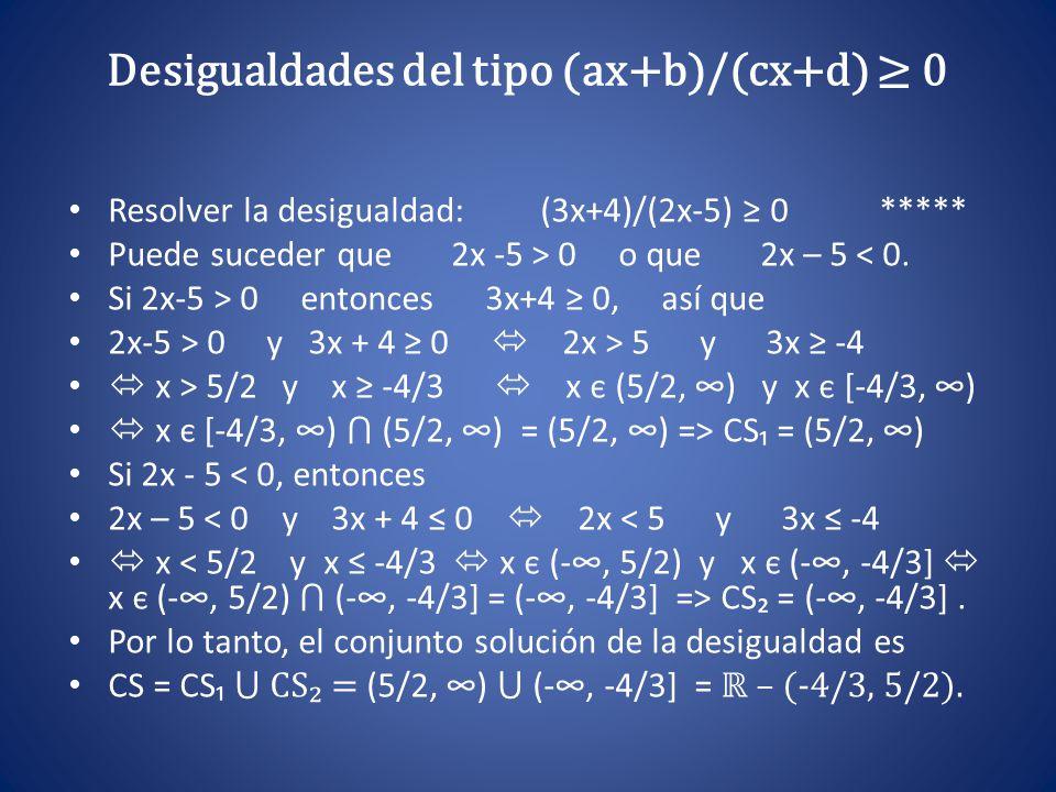 Desigualdades del tipo (ax+b)/(cx+d) ≥ 0