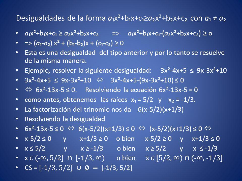 Desigualdades de la forma a₁x²+b₁x+c₁≥a₂x²+b₂x+c₂ con a₁ ≠ a₂