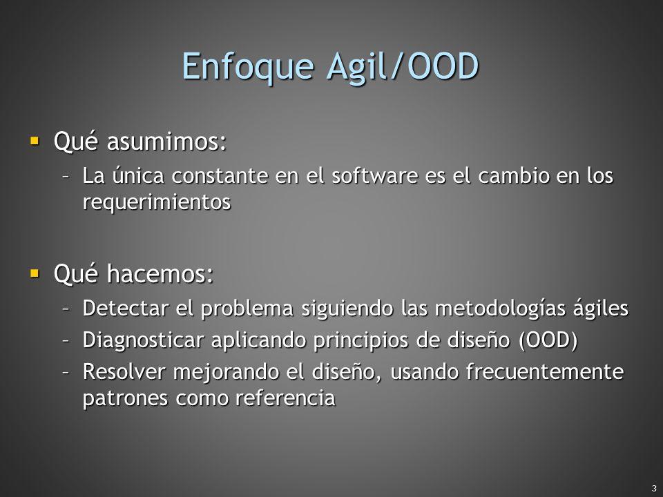 Enfoque Agil/OOD Qué asumimos: Qué hacemos: