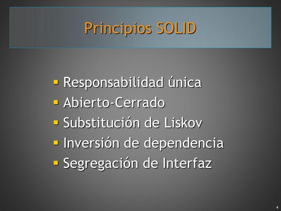 Principios SOLID Responsabilidad única Abierto-Cerrado