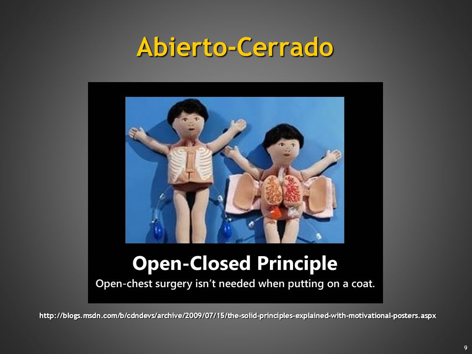 Abierto-CerradoCohesion (Tom DeMarco, Structured Analysis and System Specification) Sample: SingleResponsibility.