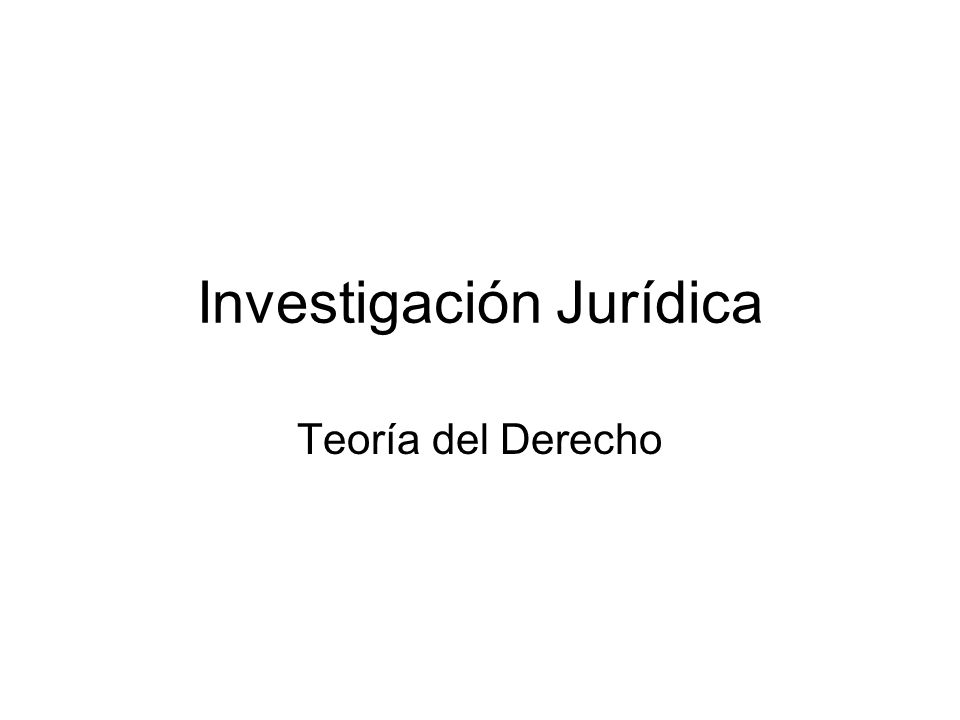 Investigación Jurídica