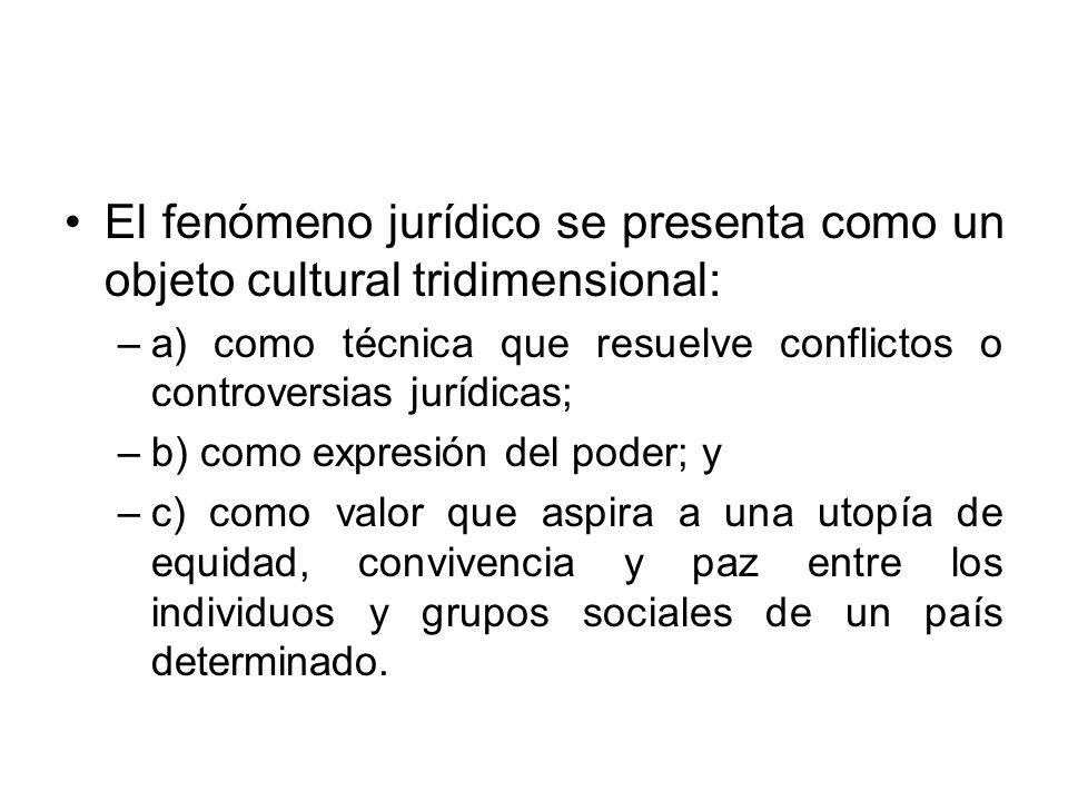 El fenómeno jurídico se presenta como un objeto cultural tridimensional: