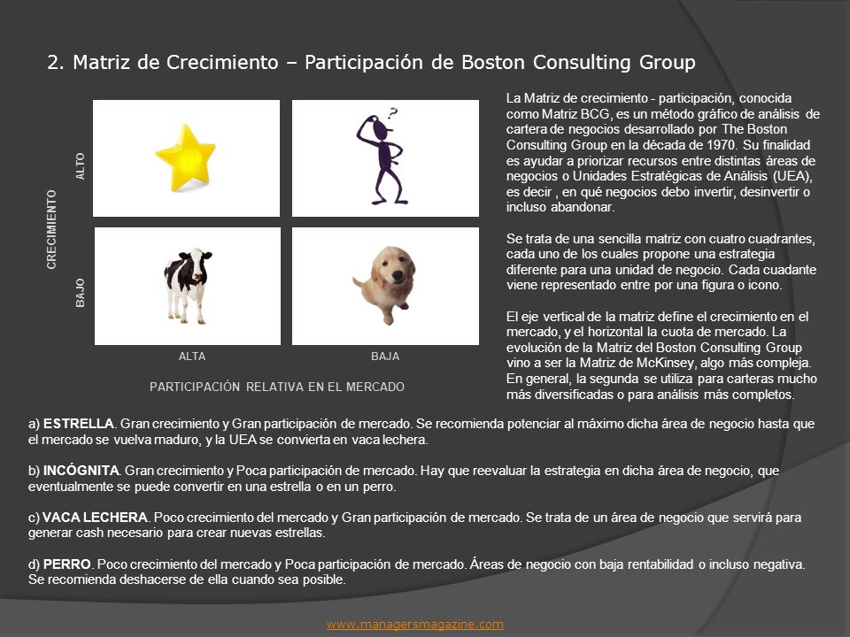 2. Matriz de Crecimiento – Participación de Boston Consulting Group