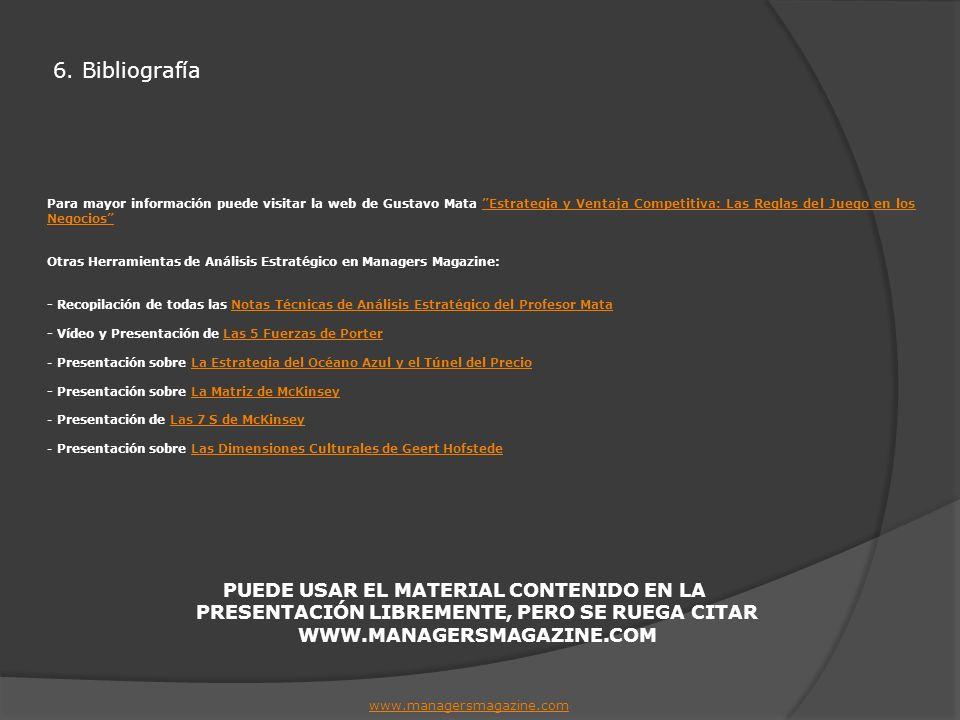 6. Bibliografía Para mayor información puede visitar la web de Gustavo Mata Estrategia y Ventaja Competitiva: Las Reglas del Juego en los Negocios