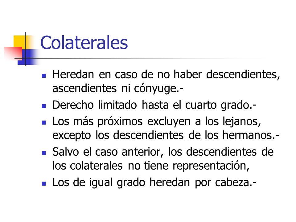 ColateralesHeredan en caso de no haber descendientes, ascendientes ni cónyuge.- Derecho limitado hasta el cuarto grado.-
