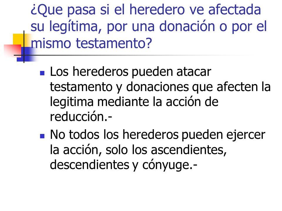¿Que pasa si el heredero ve afectada su legítima, por una donación o por el mismo testamento