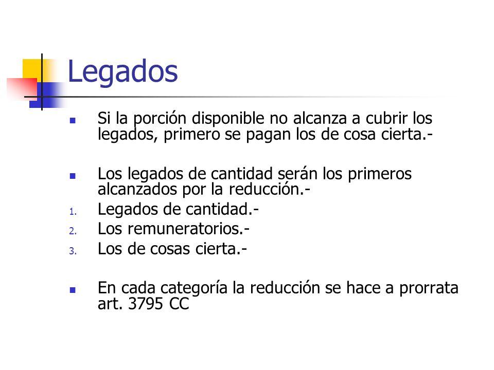 LegadosSi la porción disponible no alcanza a cubrir los legados, primero se pagan los de cosa cierta.-