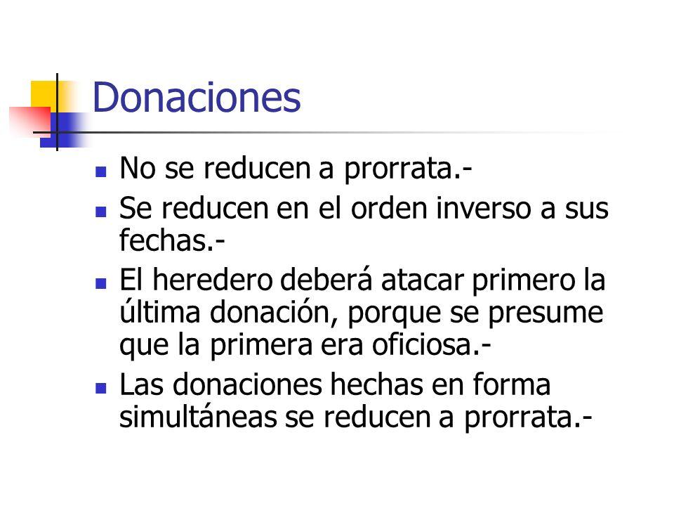 Donaciones No se reducen a prorrata.-