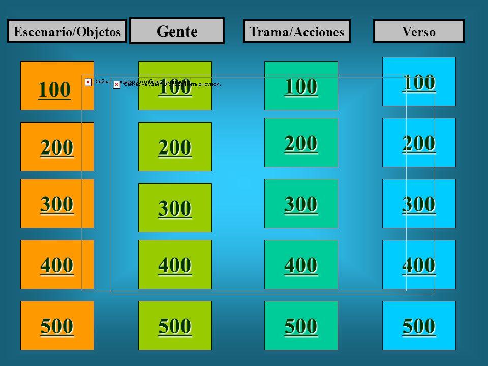 Escenario/Objetos Gente. Trama/Acciones. Verso. 100. 100. 100. 100. 200. 200. 200. 200. 300.
