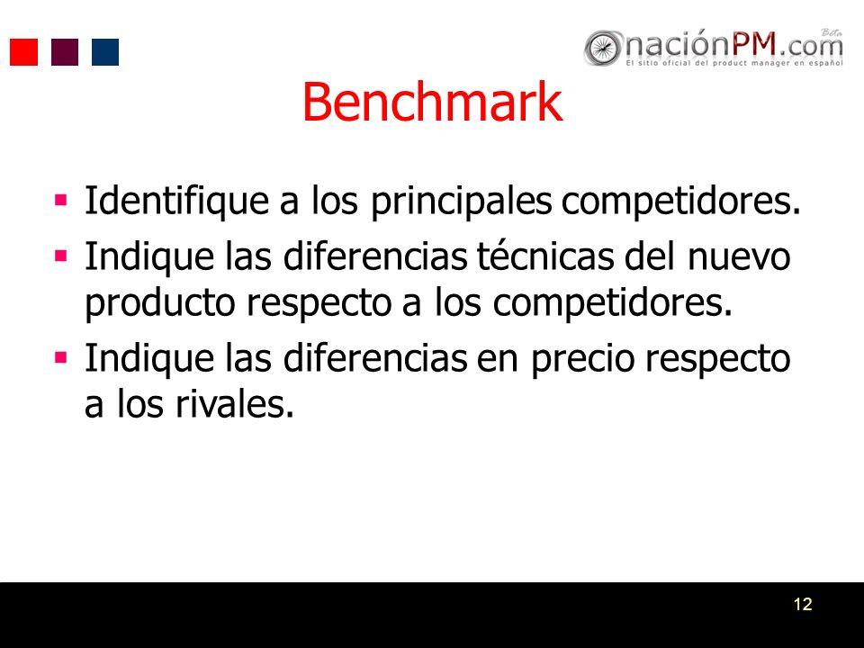 Benchmark Identifique a los principales competidores.