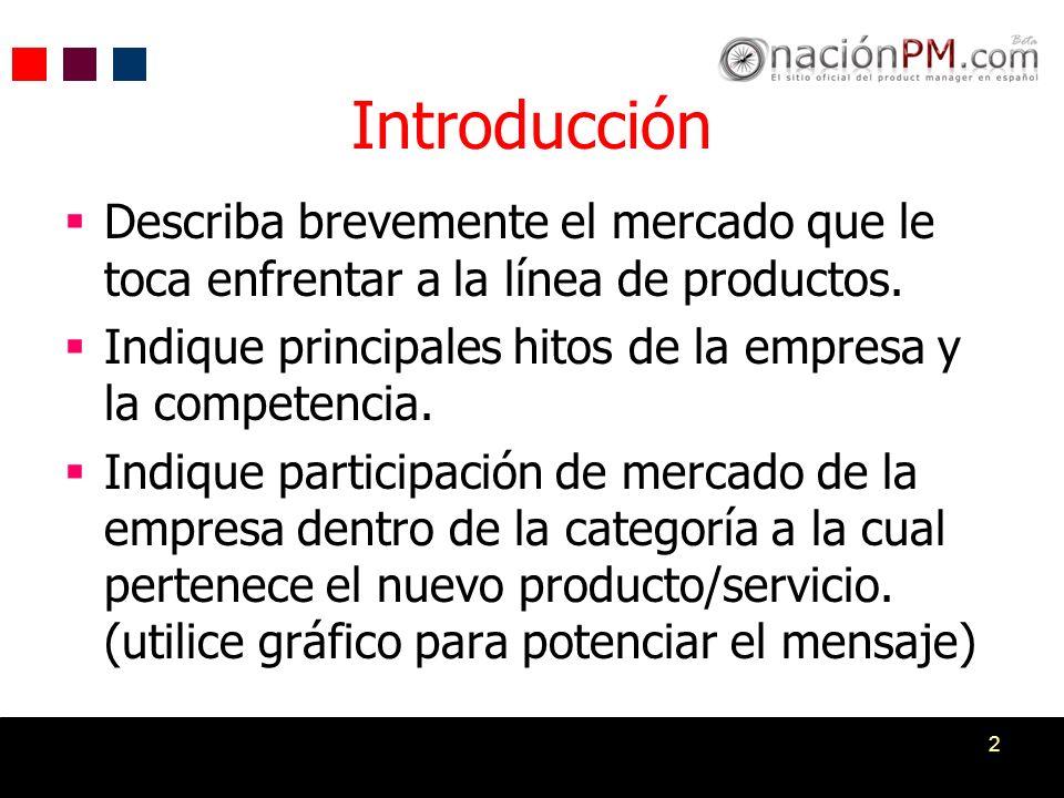 Introducción Describa brevemente el mercado que le toca enfrentar a la línea de productos. Indique principales hitos de la empresa y la competencia.