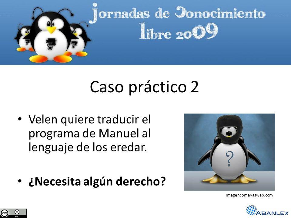 Caso práctico 2 Velen quiere traducir el programa de Manuel al lenguaje de los eredar. ¿Necesita algún derecho