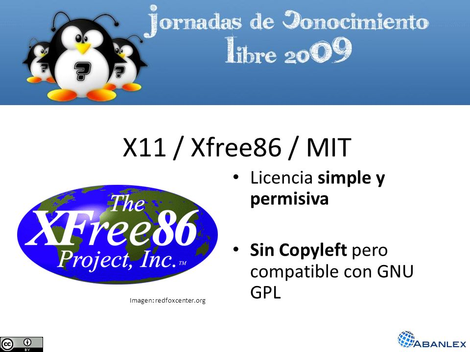 X11 / Xfree86 / MIT Licencia simple y permisiva