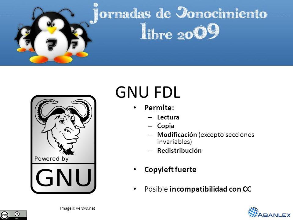 GNU FDL Permite: Copyleft fuerte Posible incompatibilidad con CC