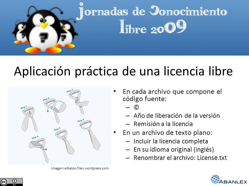 Aplicación práctica de una licencia libre