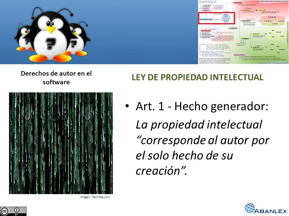 Derechos de autor en el software LEY DE PROPIEDAD INTELECTUAL