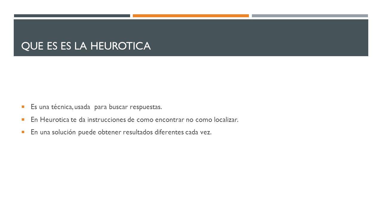 Que es es la heurotica Es una técnica, usada para buscar respuestas.