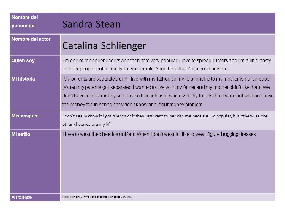 Sandra Stean Catalina Schlienger Nombre del personaje Nombre del actor