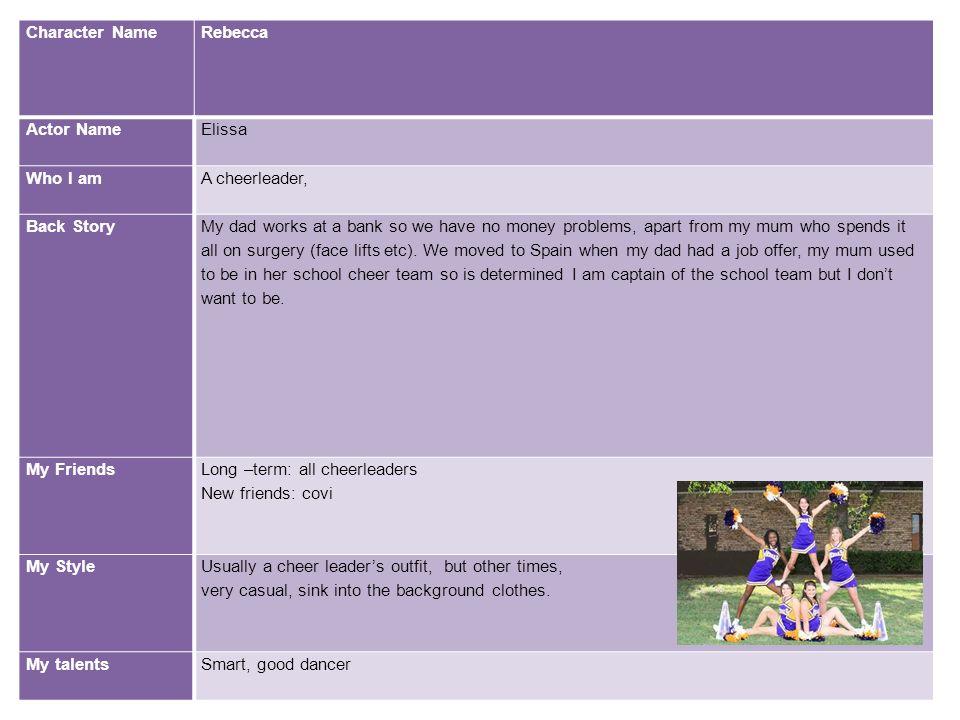 Character NameRebecca. Actor Name. Elissa. Who I am. A cheerleader, Back Story.
