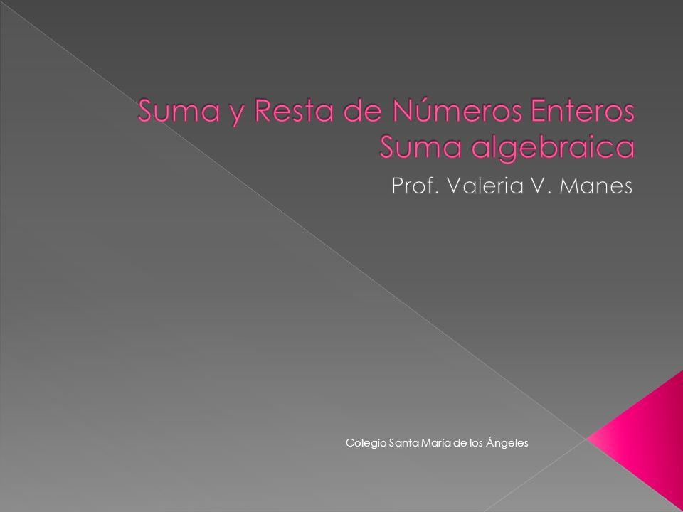 Suma y Resta de Números Enteros Suma algebraica