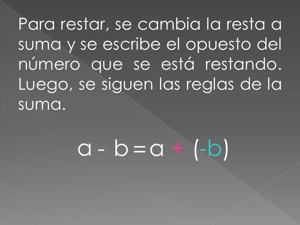 Para restar, se cambia la resta a suma y se escribe el opuesto del número que se está restando. Luego, se siguen las reglas de la suma.