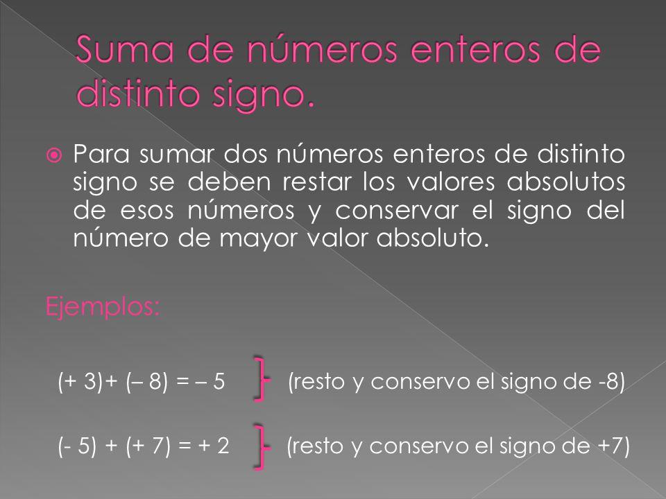 Suma de números enteros de distinto signo.