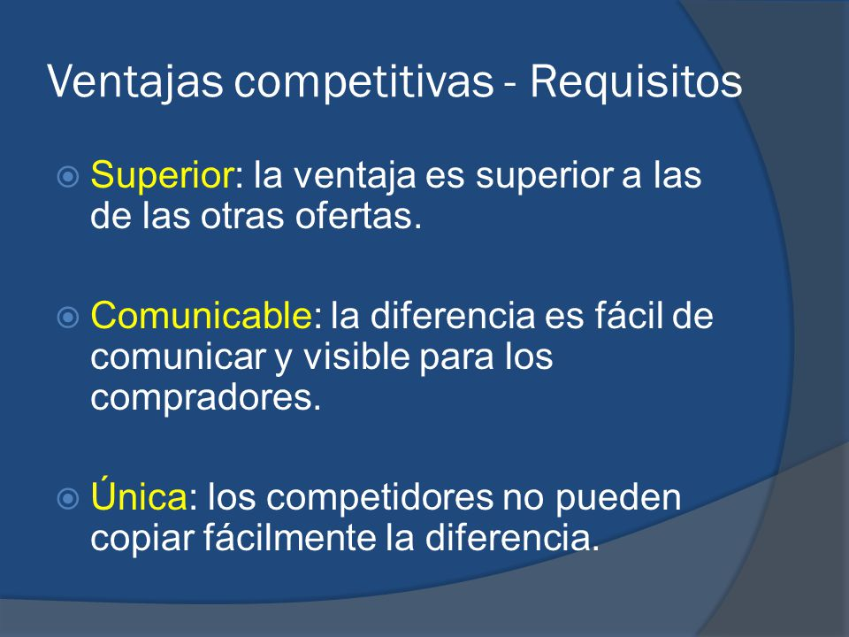 Ventajas competitivas - Requisitos