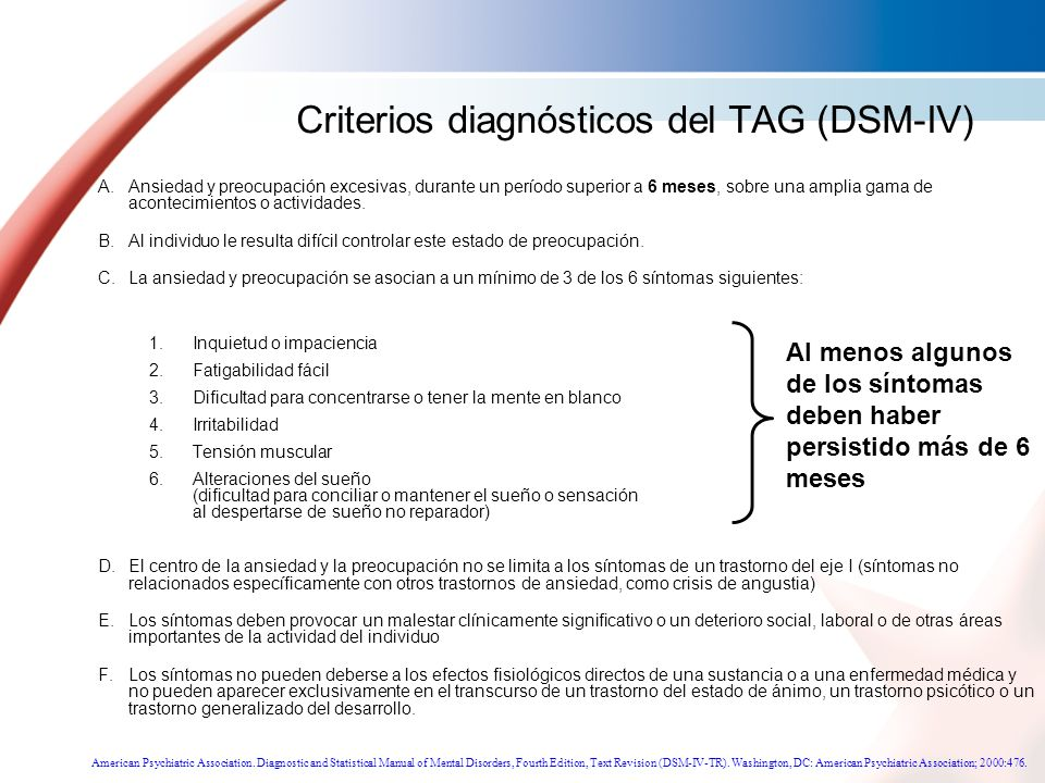 Criterios diagnósticos del TAG (DSM-IV)