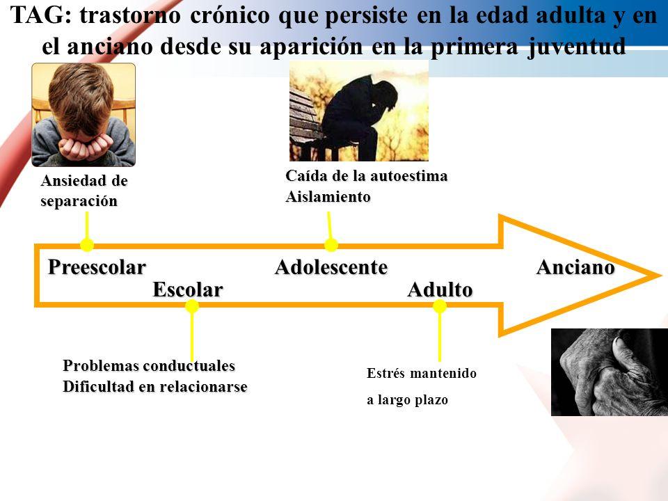 TAG: trastorno crónico que persiste en la edad adulta y en el anciano desde su aparición en la primera juventud