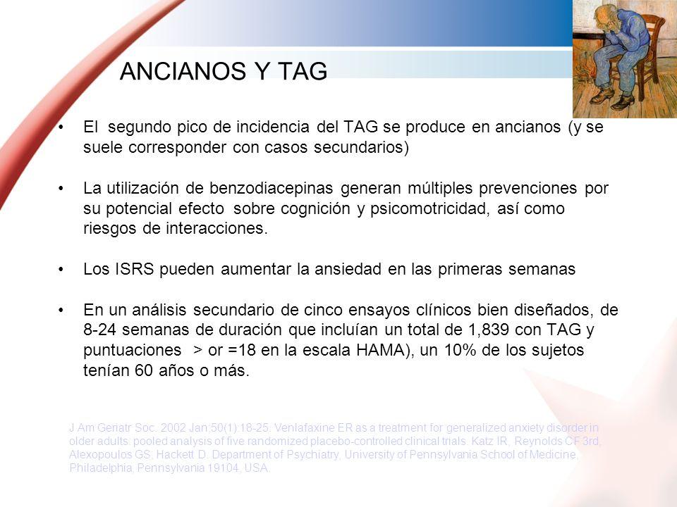 ANCIANOS Y TAG El segundo pico de incidencia del TAG se produce en ancianos (y se suele corresponder con casos secundarios)