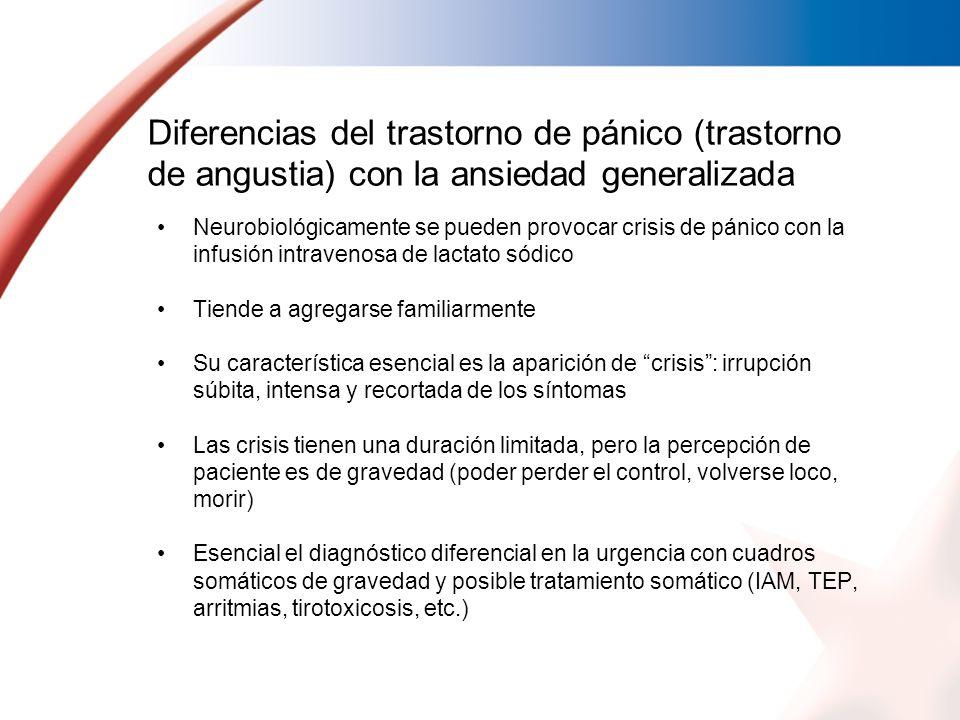 Diferencias del trastorno de pánico (trastorno de angustia) con la ansiedad generalizada