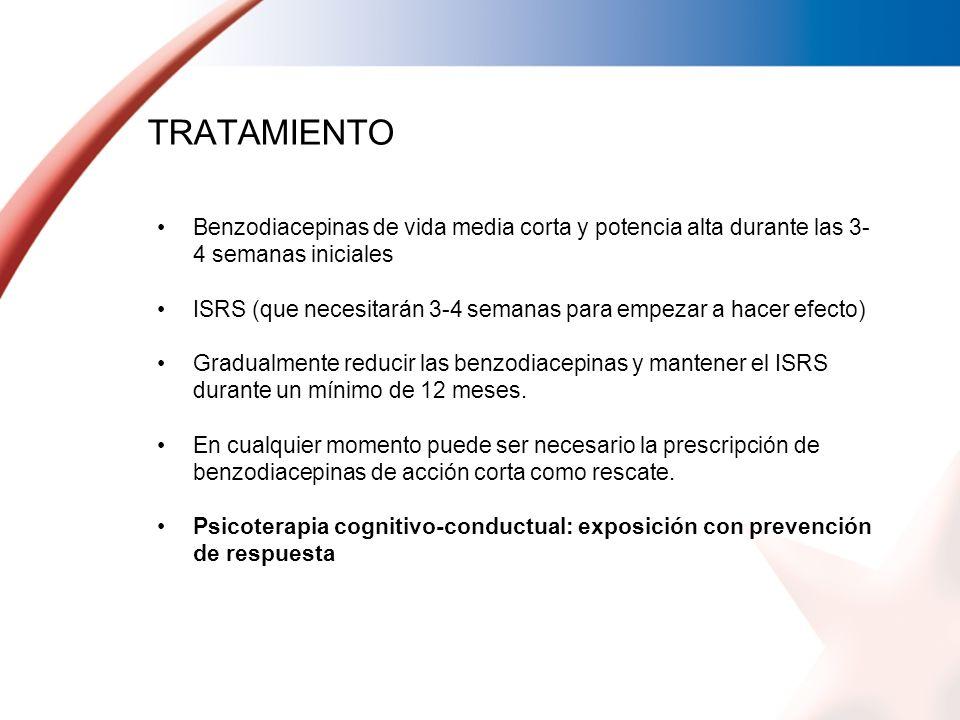 TRATAMIENTOBenzodiacepinas de vida media corta y potencia alta durante las 3-4 semanas iniciales.