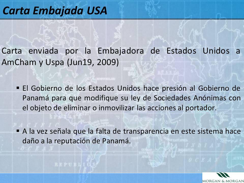 Carta Embajada USA Carta enviada por la Embajadora de Estados Unidos a AmCham y Uspa (Jun19, 2009)