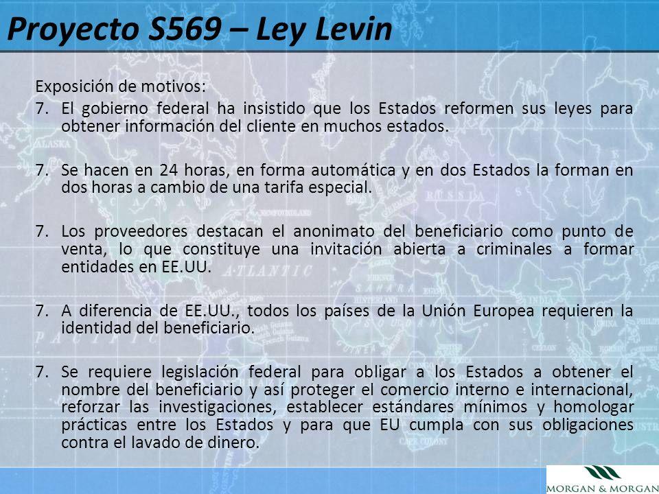 Proyecto S569 – Ley Levin Exposición de motivos: