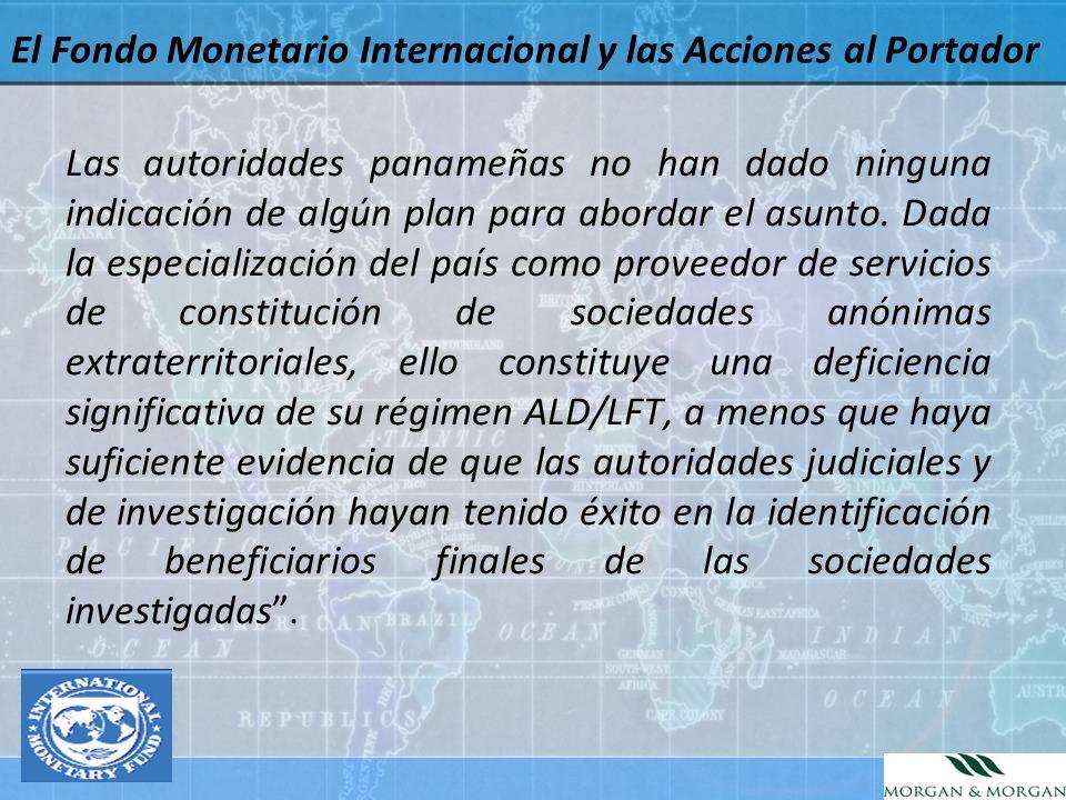 El Fondo Monetario Internacional y las Acciones al Portador
